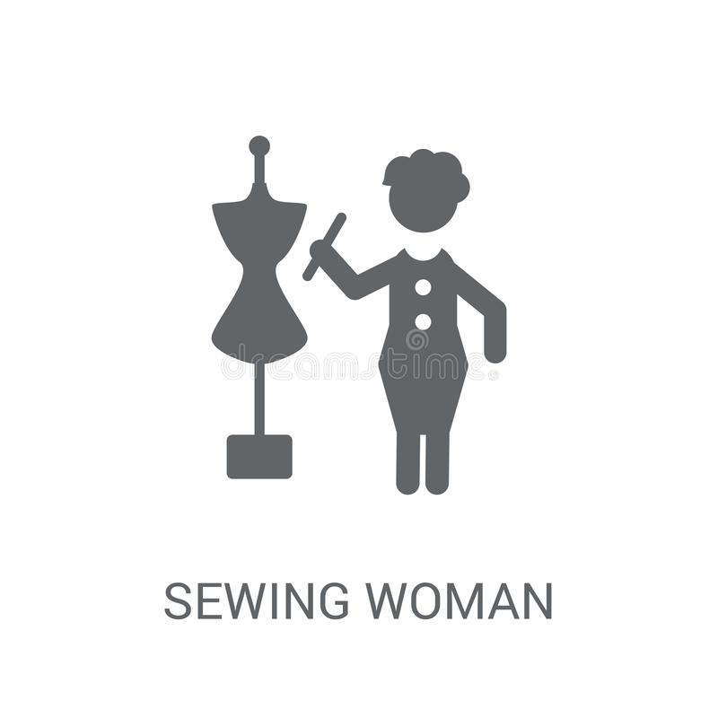 Sewing Woman icon. Trendy Sewing Woman logo concept on white background from Ladies collection. Suitable for use on web apps, mobile apps and print media vector illustration