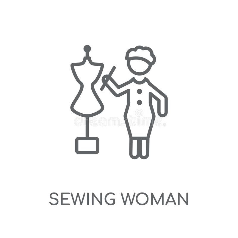 Sewing Woman linear icon. Modern outline Sewing Woman logo conce. Pt on white background from Ladies collection. Suitable for use on web apps, mobile apps and royalty free illustration