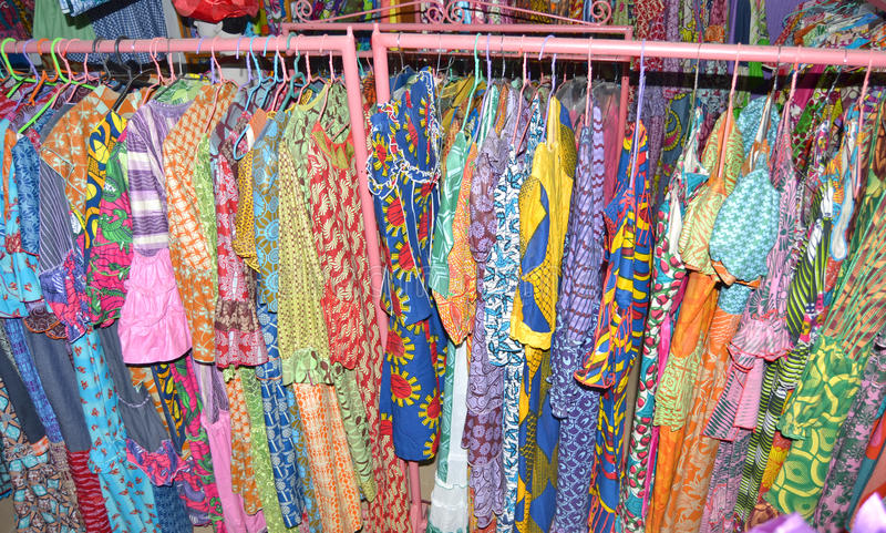 SEWING WORKSHOP. Admire the beautiful sewing workshop for Africa as a whole contains qualities of women's clothes royalty free stock photo