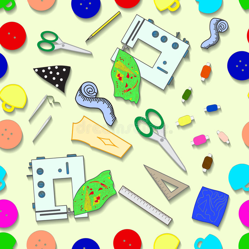Sewing workshop. Tools for sewing vector seamless pattern royalty free illustration