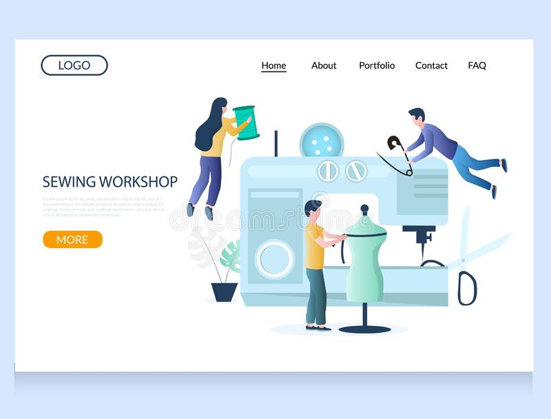 Sewing workshop vector website landing page design template. Sewing workshop vector website template, web page and landing page design for website and mobile stock illustration