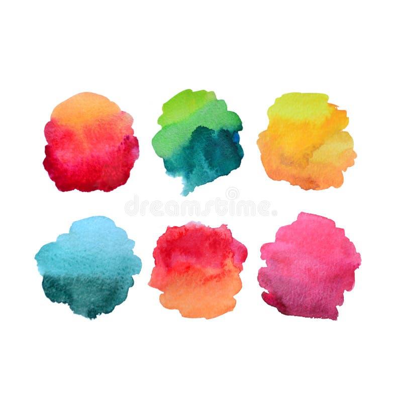 Sex abstrakta vattenfärgpåfyllningsformer stock illustrationer