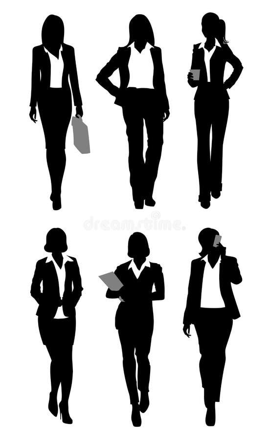 Sex affärskvinnakonturer royaltyfri illustrationer