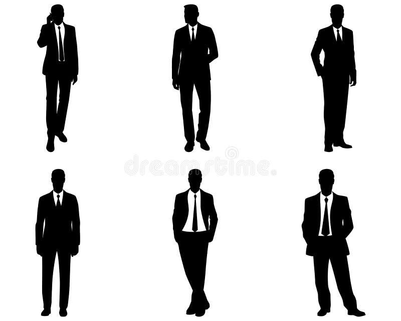 Sex affärsmankonturer vektor illustrationer