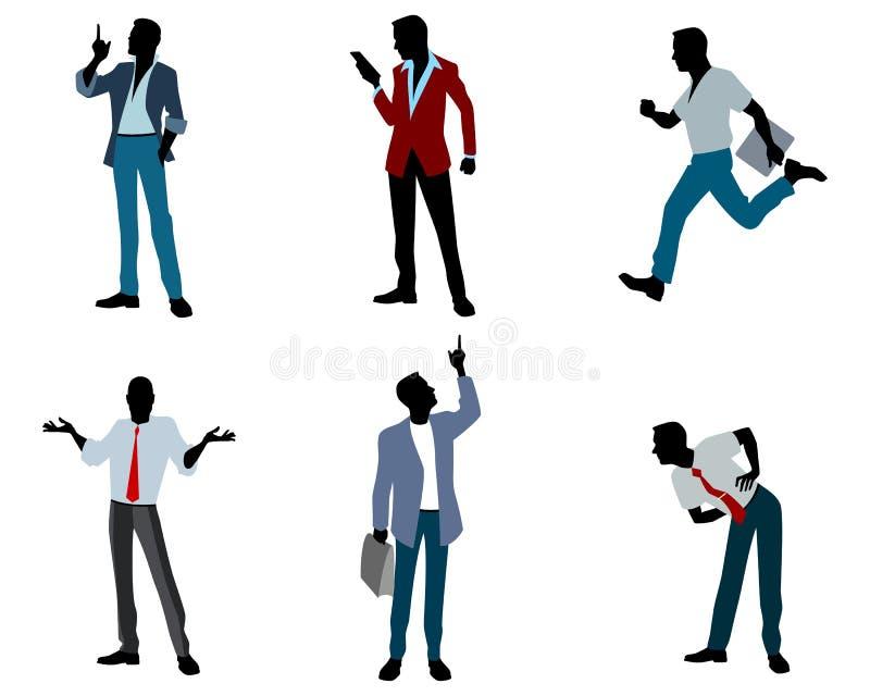 Sex affärsmankonturer stock illustrationer