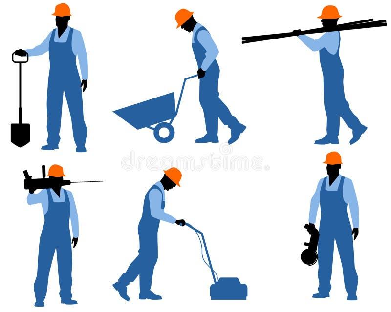 Sex arbetarkonturer stock illustrationer