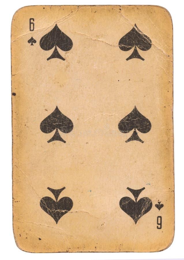 Sex av kortet för gammal stil för grunge för spadar det spela sovjetisk royaltyfri foto