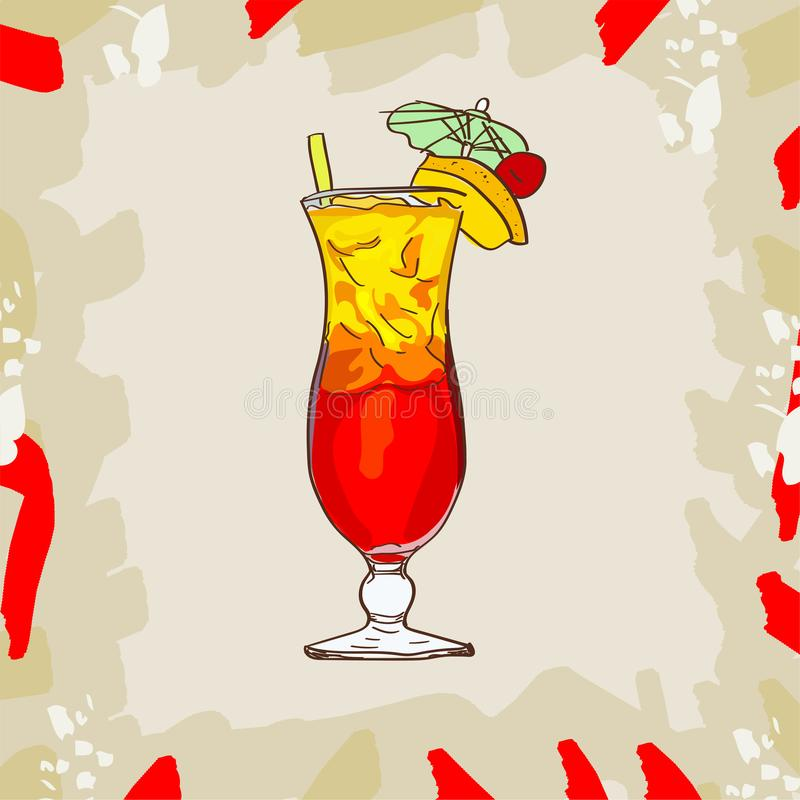 Sex on the beach tropical cocktail illustration. Alcoholic classic bar drink hand drawn . Pop art. Sketch isolated illustration of cocktail. Contemporary vector illustration
