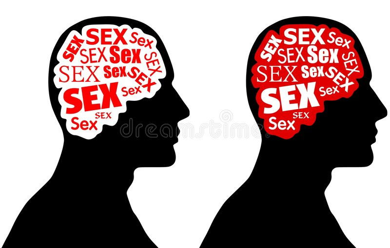 Sex on The Brain. A simple illustration feauring your choice of silhouette heads with brains consisting of the word sex in red, white and black combinations