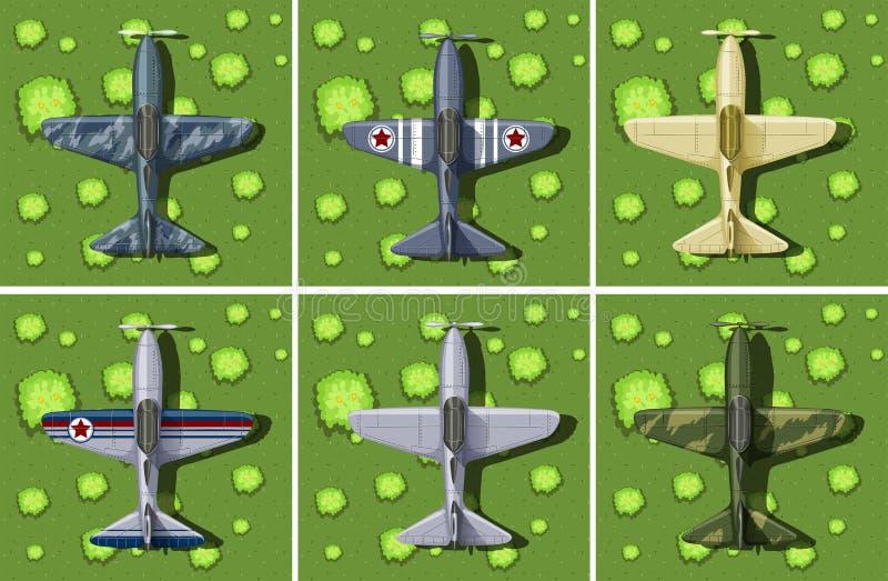 Sex designer av det militära flygplanet royaltyfri illustrationer