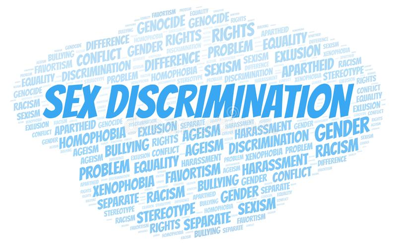 Sex Discrimination - type of discrimination - word cloud. Wordcloud made with text only stock illustration