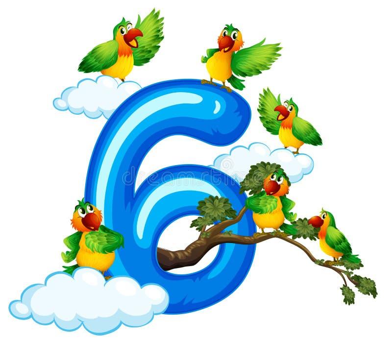 Sex fågel på himmel vektor illustrationer