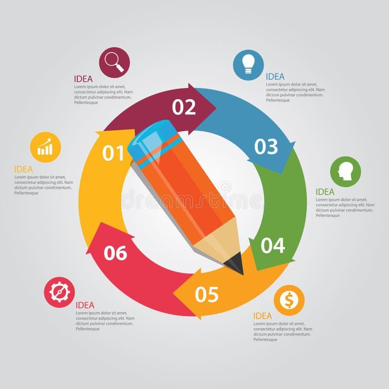 Sex för cirkelpil för 6 moment arbete-flöde för presentation för utbildning för blyertspenna runda vektor illustrationer