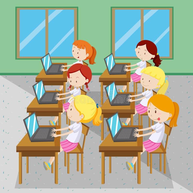 Sex flickor som skriver på datorer royaltyfri illustrationer