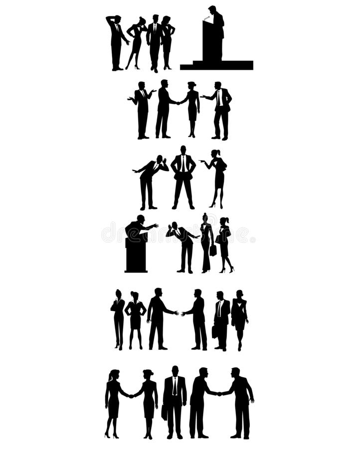 Sex grupper av affärsfolk stock illustrationer