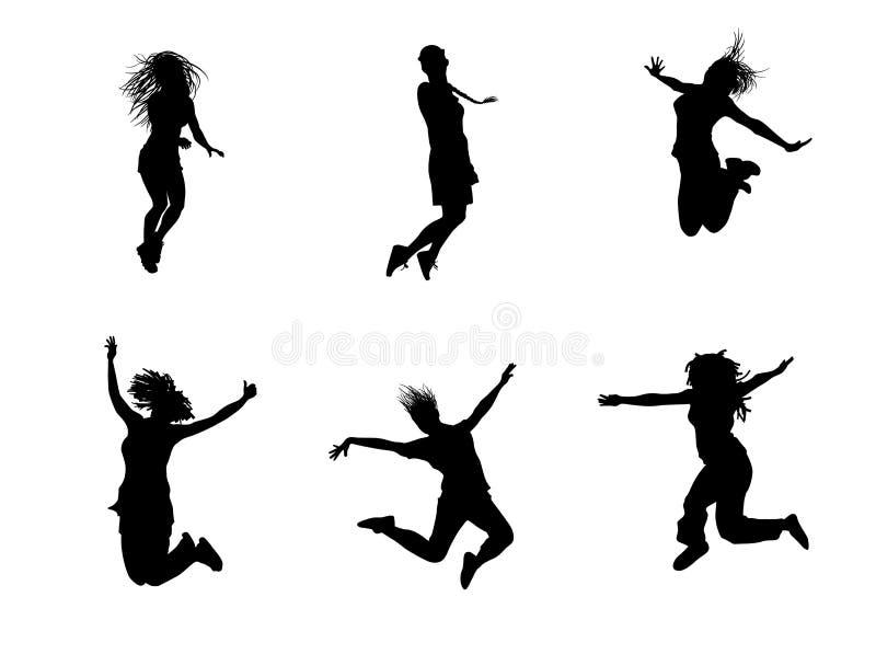 Sex hoppa tonåringar vektor illustrationer