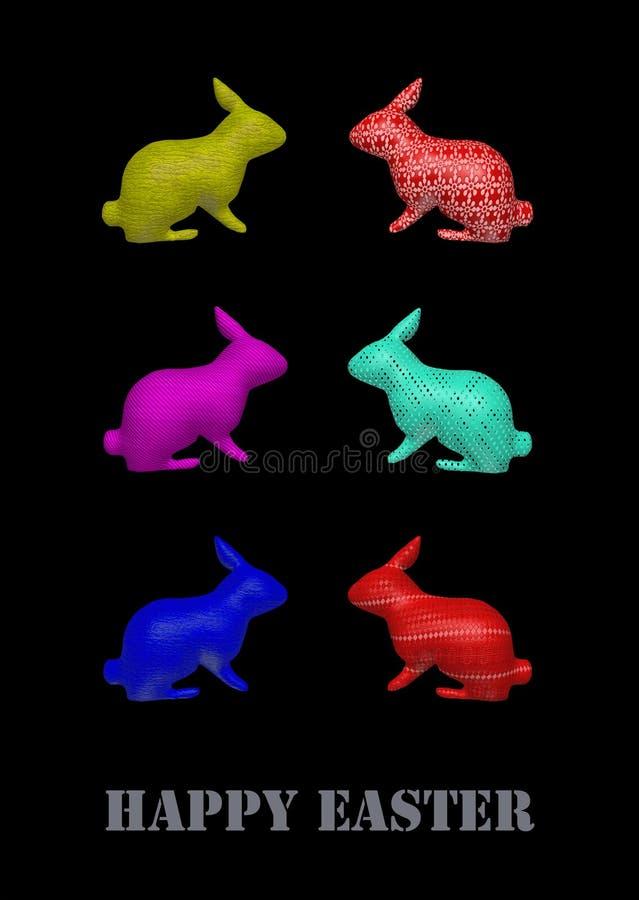 Sex kaniner, illustration royaltyfri fotografi