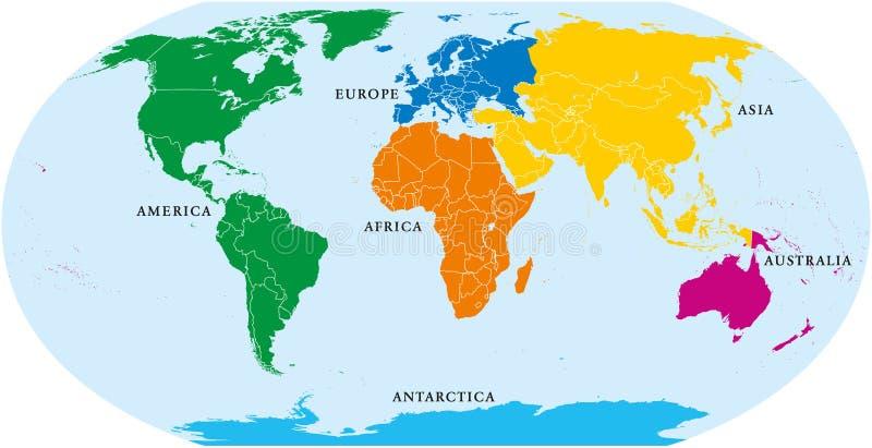 Sex kontinentvärld, politisk översikt vektor illustrationer