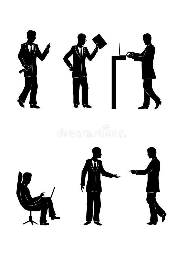 Sex konturer av affärsmän stock illustrationer