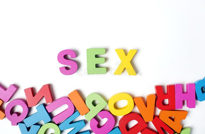 ` SEX ` Letters and Word, Learning English Word and Meaning royalty free stock photo