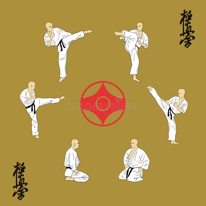 sex män är förlovade i karate stock illustrationer
