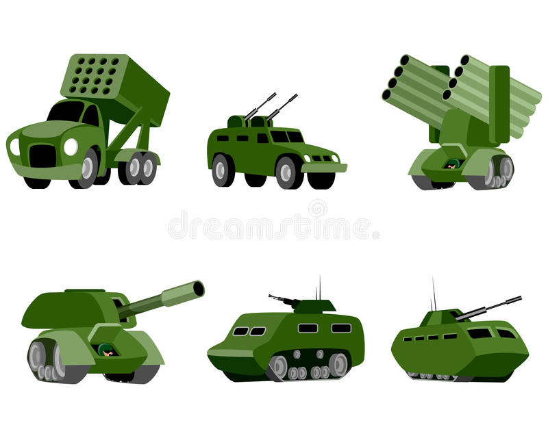 Sex militärfordon stock illustrationer