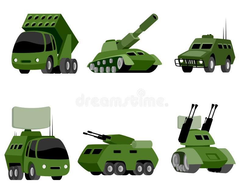 Sex militärfordon royaltyfri illustrationer