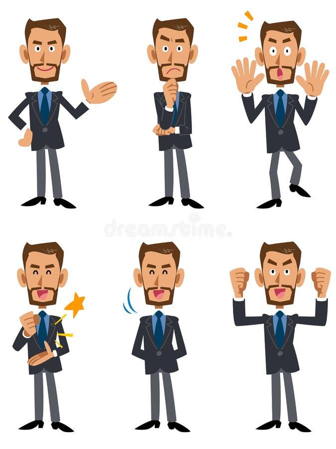 Sex modell poserar och gör en gest av affärsmän som rymmer skägg stock illustrationer