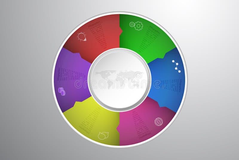 Sex moment rundade infographics med 3D cirkeln, prickig världskarta royaltyfri illustrationer