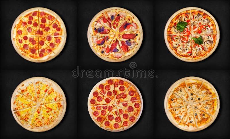 Sex olika pizzauppsättning för meny Köttpizza med 1Pepperoni 2ham och pizza för bacon 3 med pepp för ost 5 för skaldjur 4pizza fy fotografering för bildbyråer