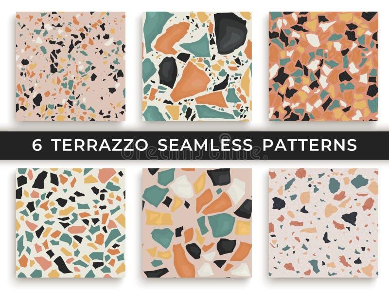 Sex sömlösa terrazzomodeller Tillverkad hand och unika modeller som upprepar bakgrund Granit texturerade former in stock illustrationer