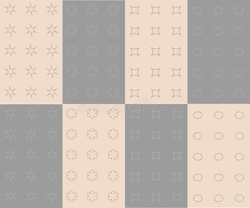 Sex sömlösa texturer Rosa färger ljus - blåttöversikter av blommor, ovals, stjärnor, blommar rosa färger stock illustrationer