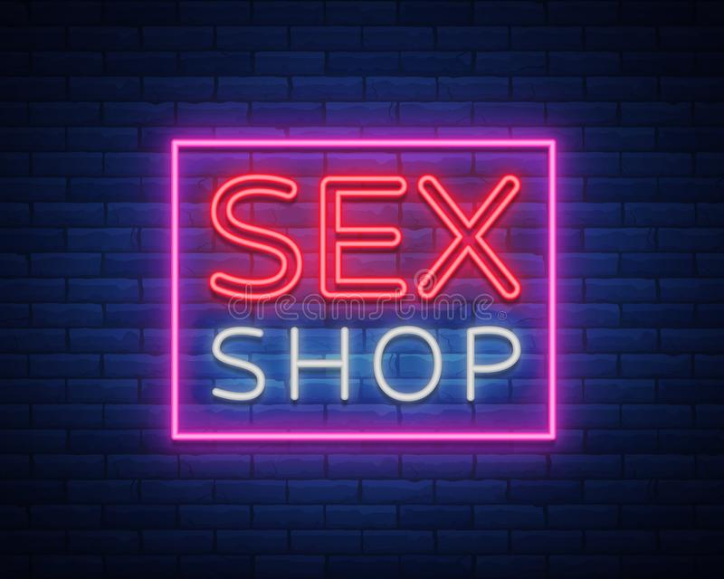 Sex shop logo, night sign in neon style. Neon sign, a symbol for sex shop promotion. Adult Store. Bright banner, nightly royalty free illustration