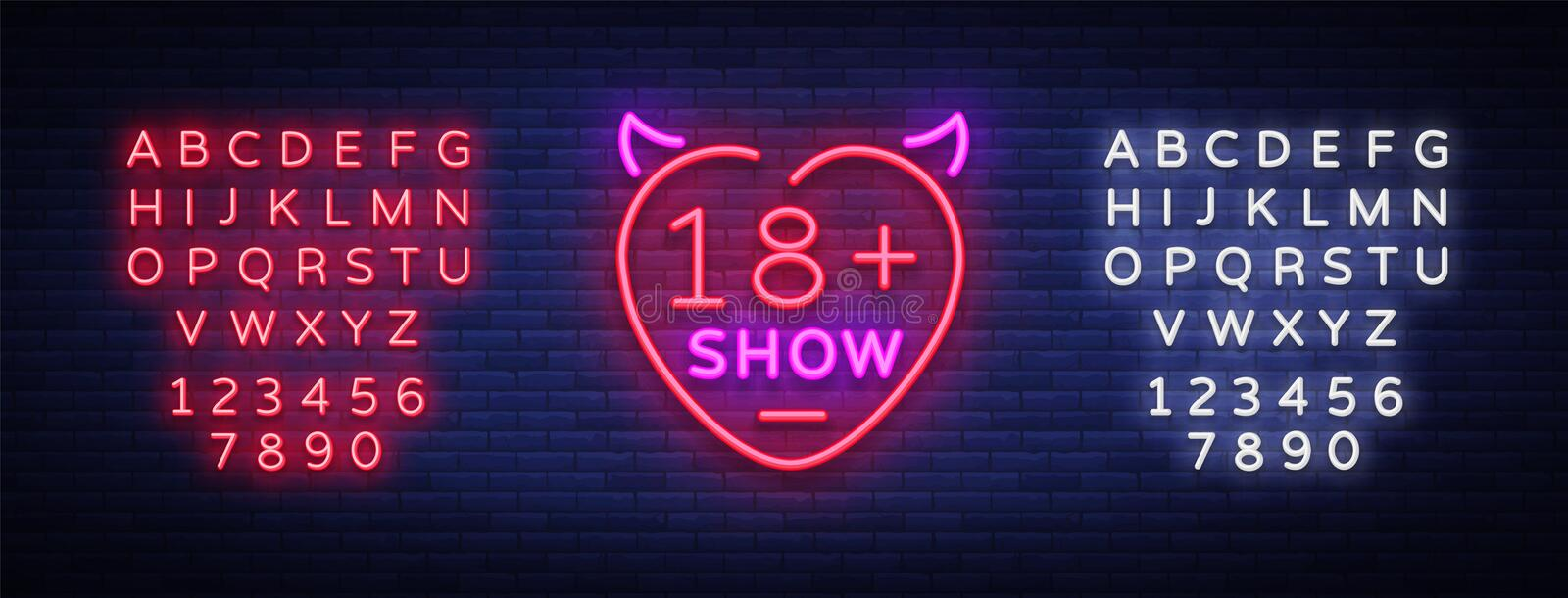 Sex show neon sign. Bright night banner in neon style, neon billboards for advertising sex shows, sex shop, intimate stock illustration