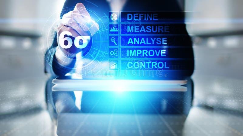 Sex Sigma, lutar tillverkning, kvalitets- kontroll och industriella processen som förbättrar begrepp royaltyfria bilder