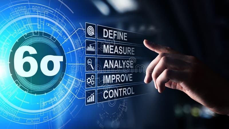 Sex Sigma, lutar tillverkning, kvalitets- kontroll och industriella processen som f?rb?ttrar begrepp vektor illustrationer