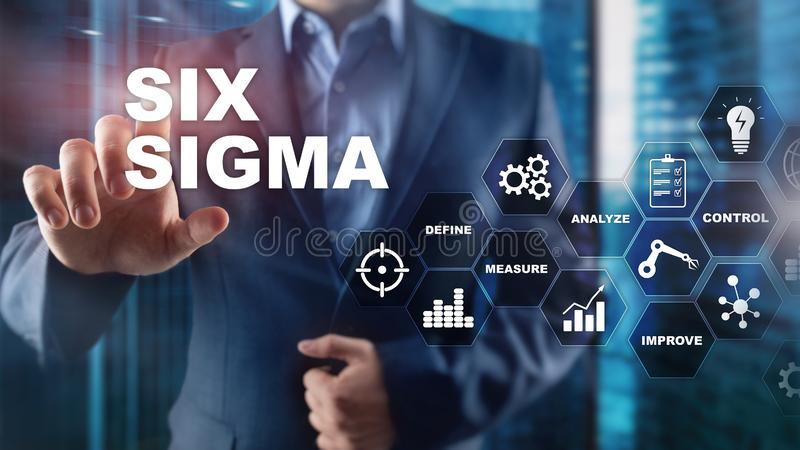 Sex Sigma, tillverkning, kvalitets- kontroll och industriell process som förbättrar begrepp Affär, internet och tehcnology royaltyfria foton