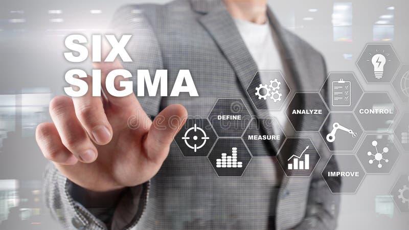 Sex Sigma, tillverkning, kvalitets- kontroll och industriell process som förbättrar begrepp Affär, internet och tehcnology arkivbild