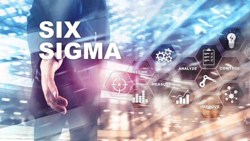 Sex Sigma, tillverkning, kvalitets- kontroll och industriell process som f?rb?ttrar begrepp Aff?r, internet och tehcnology arkivfoto