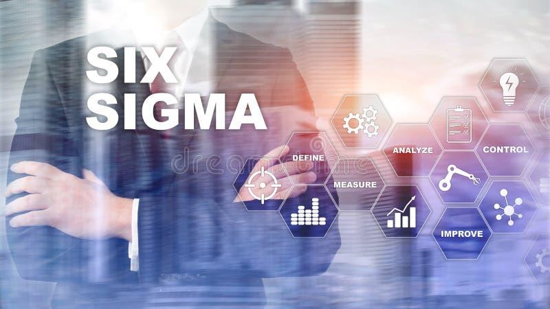 Sex Sigma, tillverkning, kvalitets- kontroll och industriell process som f?rb?ttrar begrepp Aff?r, internet och tehcnology arkivbild