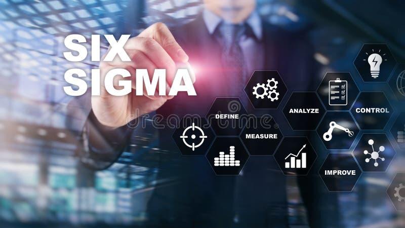 Sex Sigma, tillverkning, kvalitets- kontroll och industriell process som f?rb?ttrar begrepp Aff?r, internet och tehcnology royaltyfria bilder