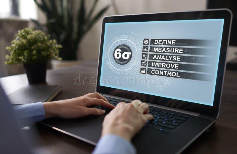 Sex sigma - uppsättning av tekniker och hjälpmedel för processförbättring royaltyfri bild