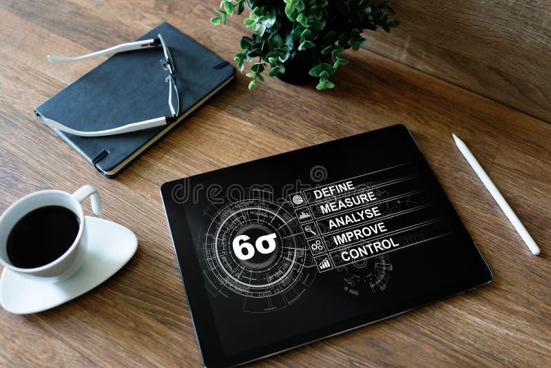 Sex sigmadiagram, lutar fabriks- industriellt begrepp på skärmen royaltyfri foto