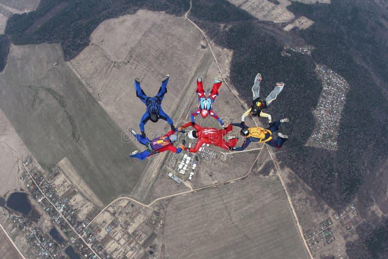 Sex skydivers i vinterhimlen royaltyfria bilder