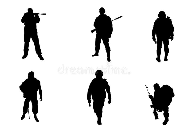 Sex soldatkonturer stock illustrationer