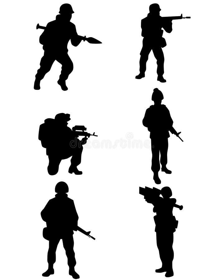 Sex soldatuppsättning vektor illustrationer