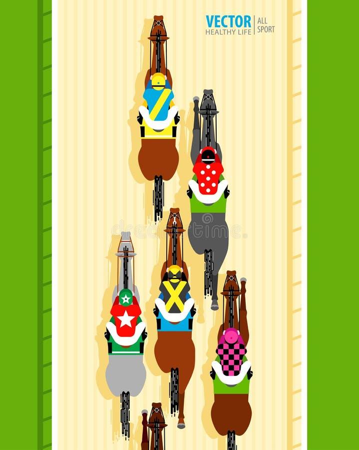 Sex springa hästar som konkurrerar med de baner Universell mall för en website nordlig pyatigorsk t?vlings- russia f?r caucasus h royaltyfri illustrationer
