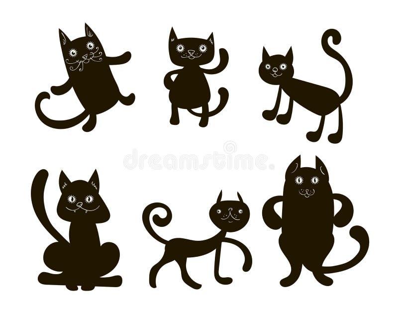 Sex svarta klotterkatter stock illustrationer