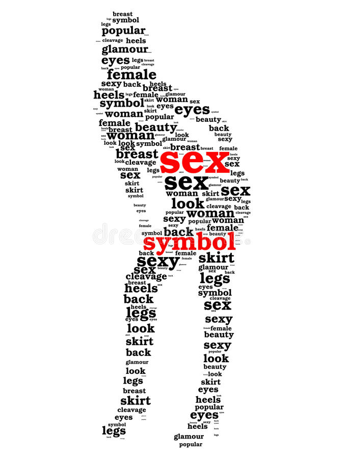 Sex Symbol Word Cloud In Shape Of Woman Stock Illustration