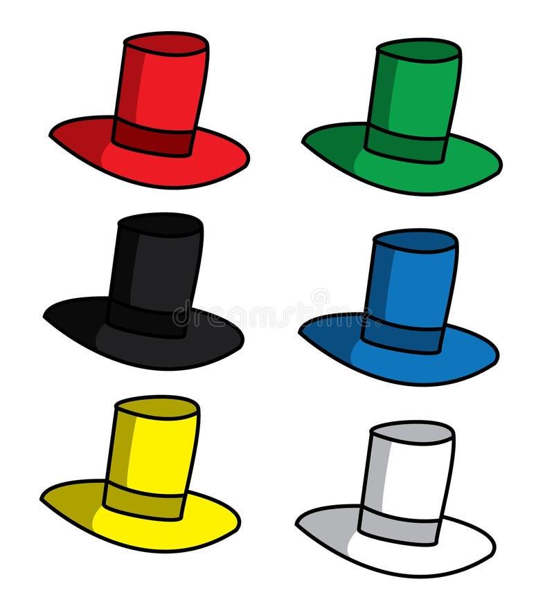 Sex tänkande hattar stock illustrationer